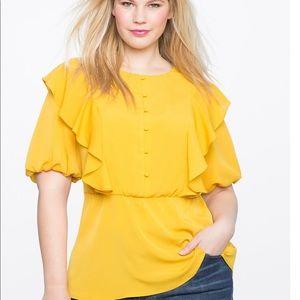 ELOQUII • ruffle peplum blouse with bib